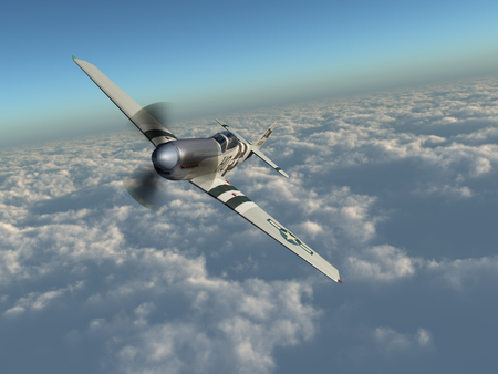 American fighter plane of World War II over the clouds
