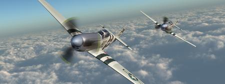 avions de combat américain de la seconde guerre mondiale sur les nuages Banque d'images