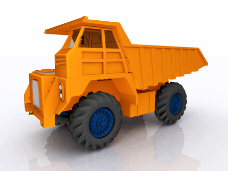 Dump truck against a white background Stock Photo