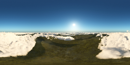 Spherical 360 degrees seamless panorama with a view over the clouds