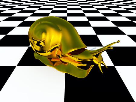 Golden snail on a checkerboard pattern