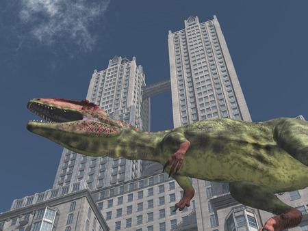Dinosaur Giganotosaurus in front of a skyscraper Stok Fotoğraf