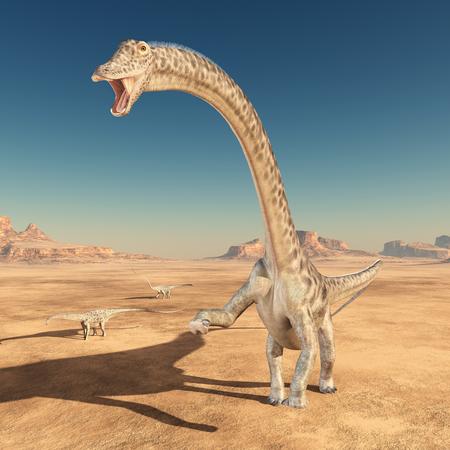 사막에서 공룡 디플로도쿠스 스톡 콘텐츠 - 98859023