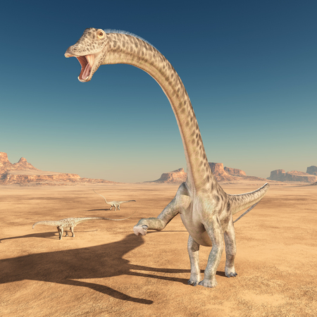 Dinosaur Diplodocus in the desert