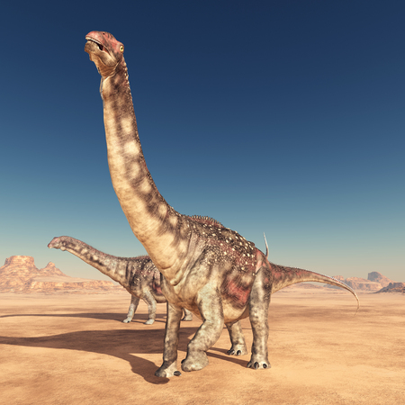 Dinosaur Diamantinasaurus in the desert Фото со стока - 98784709