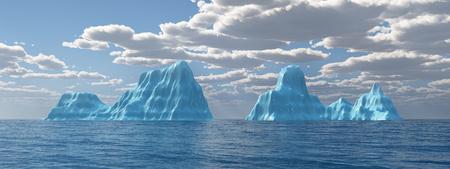 Ocean panorama with icebergs 写真素材