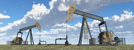 Oil pumps in a landscape
