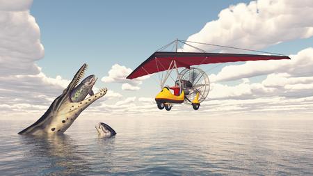 Trike sur la mer et masques marins préhistoriques Banque d'images - 99353817