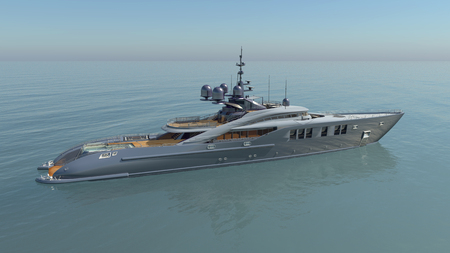 Luxury yacht in the open sea