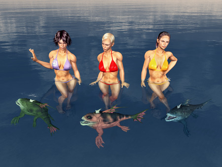 Sea bathing attractive women surrounded by monstrous fish Stock fotó