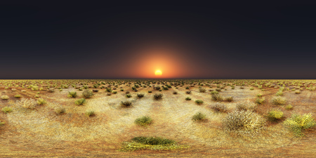 Spherical 360 degrees seamless panorama with a sunset over a steppe Stock Photo