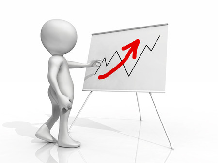 3D figure in front of flip chart with sales curve Banque d'images - 102422171