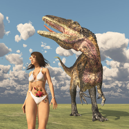 Attractive woman in bikini and the dinosaur Acrocanthosaurus