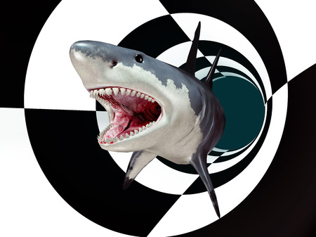 Great white shark in a futuristic environment
