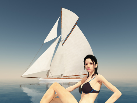 Sexy female model at the sea and sailing yacht Stock Photo