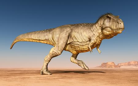 Dinosaur Tyrannosaurus Rex in the desert