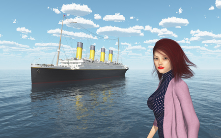 Ocean liner and attractive woman with blowing hair in fashionable clothes