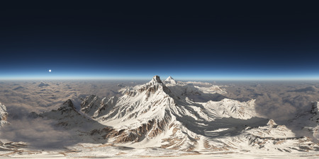 Spherical 360 degrees seamless panorama with mountains over the clouds