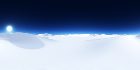 Spherical 360 degrees seamless panorama with a snow desert