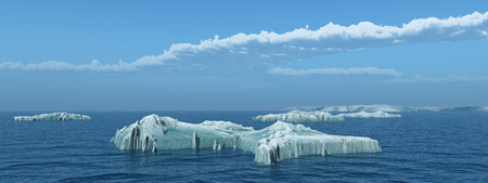 Icebergs floating in the open sea