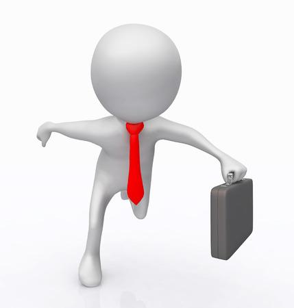 3D figure as a running businessman Фото со стока