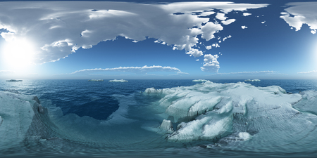 Spherical 360 degrees seamless panorama with icebergs in the open sea