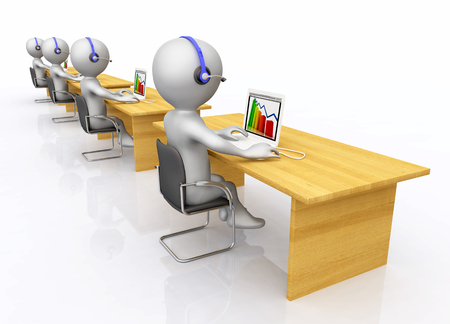 Call center with 3D figures