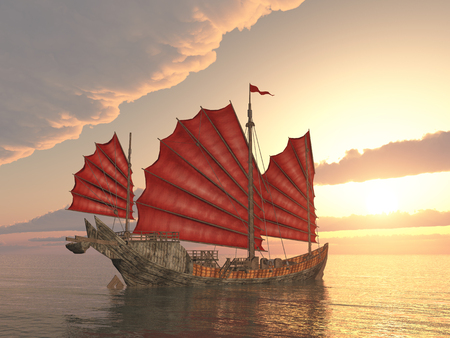 Chinese junk ship at sunset Stock Photo