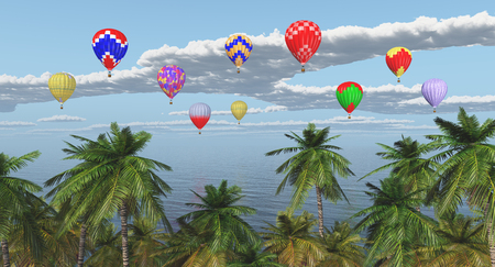 Palm trees and hot air balloons over the sea