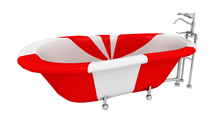 Modern red white striped bathtub isolated on white background Stock fotó