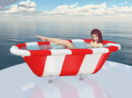 Young woman in a bathtub at the sea