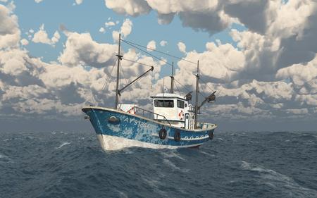 Fishing trawler in the stormy sea Standard-Bild - 107997027