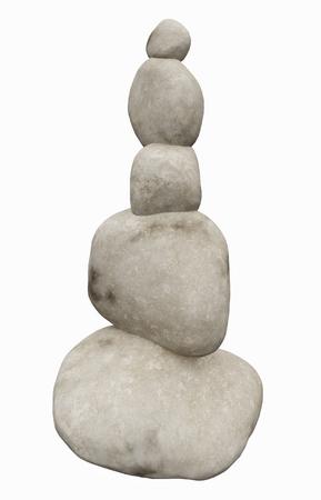 Stone pyramid isolated on white background