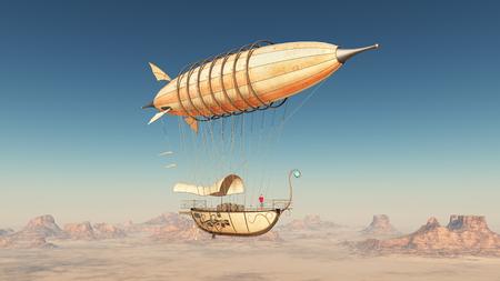 Fantasy airship over a desert Stok Fotoğraf