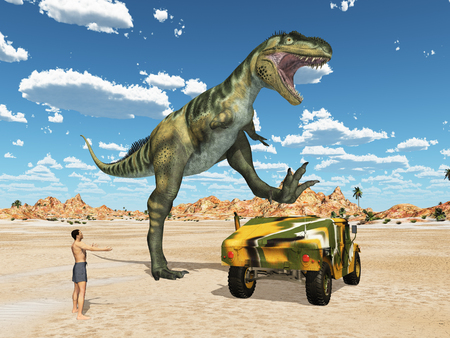Dinosaur Bistahieversor attack on off road vehicle Stockfoto