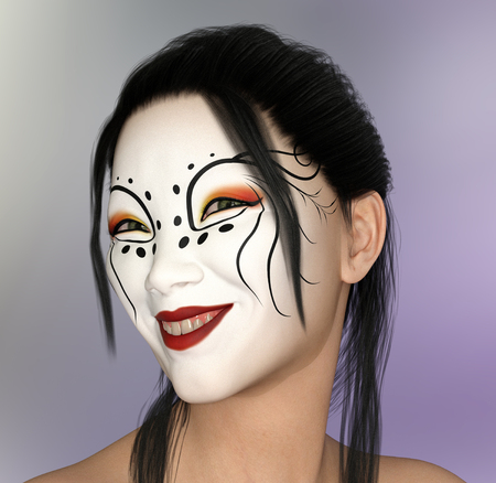 Smiling asian woman with theatrical makeup
