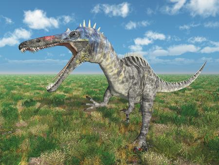 Dinosaur Suchomimus in a landscape