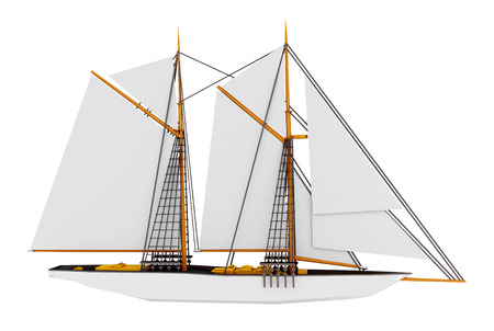 Gaff rig schooner isolated on white background Stock Photo