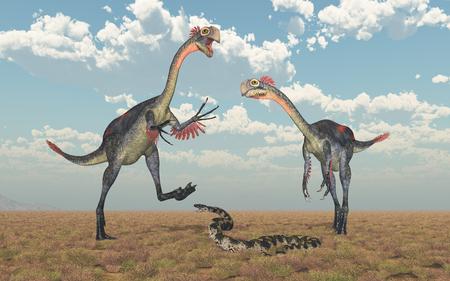 Gigantoraptor and Titanoboa Stock Photo