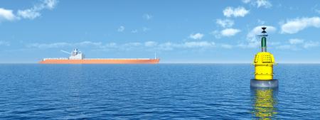 Buoy and cargo ship in the distance Archivio Fotografico - 119080172
