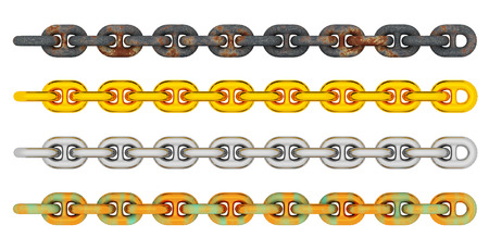 Anchor chains isolated on white background Stock Photo