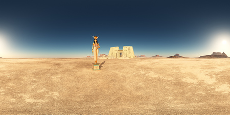 Spherical 360 degrees panorama with goddess Hathor and Temple of Edfu in a desert