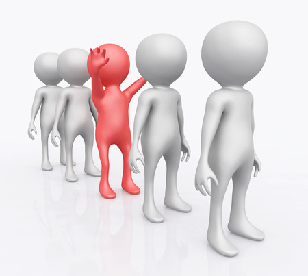 3D figures in a row Stock Photo
