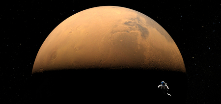 Planet Mars and astronaut floating free in space