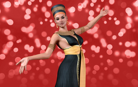 3D woman in Cleopatra costume