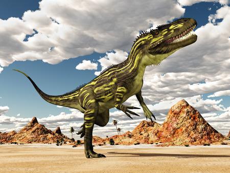 Dinosaur Torvosaurus in the desert