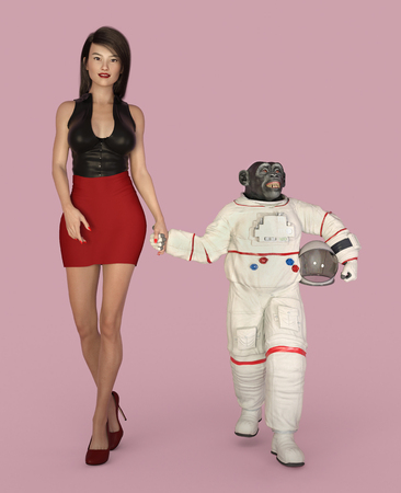 Young woman and chimpanzee in spacesuit