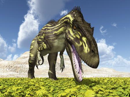 Dinosaur Torvosaurus in a landscape
