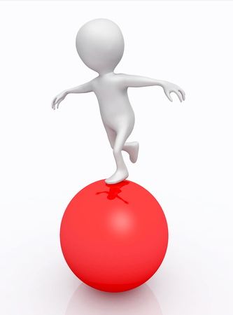 Balancing act with 3D figure on a red sphere