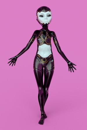 Female alien posing in futuristic outfit